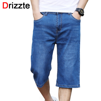 Drizzte Knee Length Shorts Plus Size 28-44 Summer Jeans Shorts Lightweight Thin Stretch Denim Mens Long Shorts Jeans