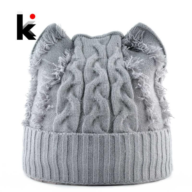 44b834aa167 2018 Winter Knitted Hats Women Cute Cat Ears Beanies Skullies Female Knit  Angora Warm Caps With