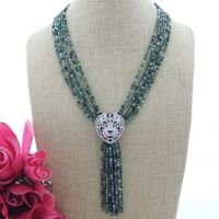 6 Strands 4mm Stone Necklace Tiger CZ Pendant