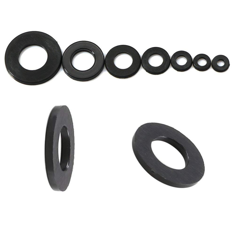 Black 350pcs Nylon Flat Round Plastic Washer with M2//2.5//3//4//5//6//8 Assortment