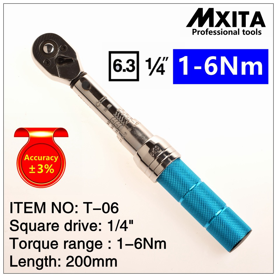 цена на MXITA 1-6Nm Accuracy 3% High precision professional Adjustable Torque Wrench car Spanner car Bicycle repair hand tools set