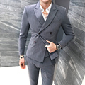 3Pieces Men Suit British Style Double Breasted Business Formal Wear Men's Suits Slim Fit Fashion Gray Blazer Set Tuxedo Hot 5XL