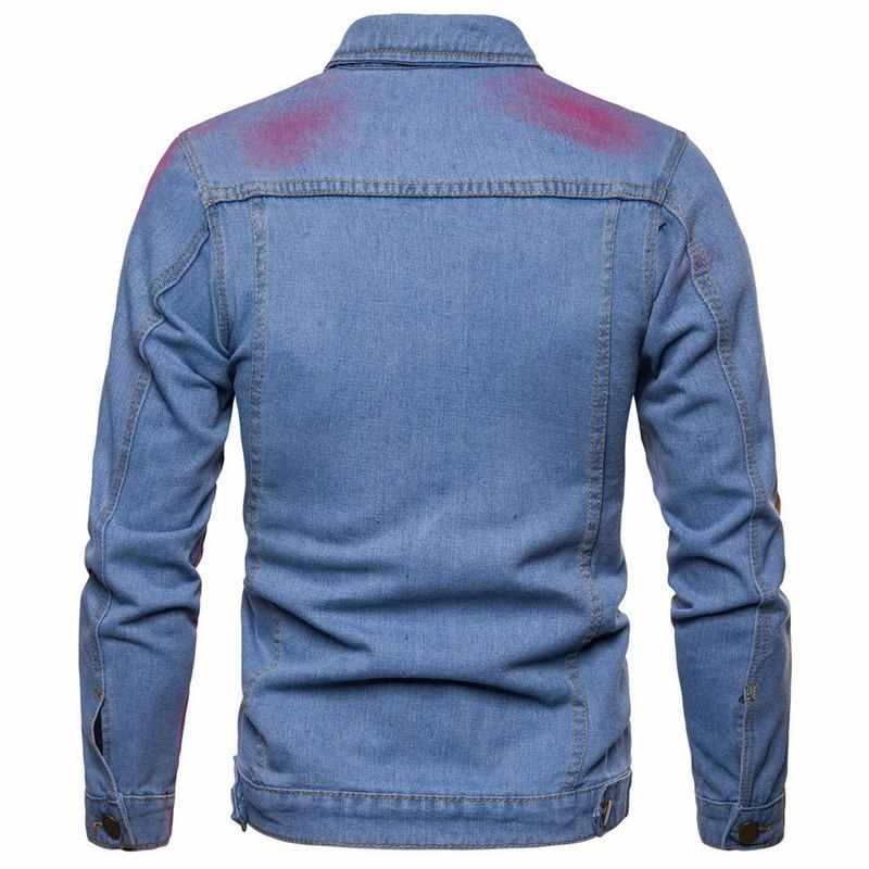 27a1fe2916 ... Puimentiua Fashion Autumn 2018 Men Denim Hip Hop Streetwear Jackets  Vintage Colorful Patchwork Dye Ink Jacket ...