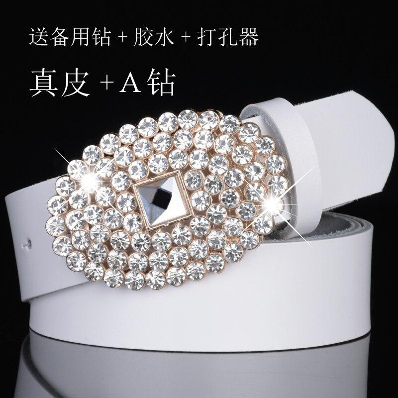 Cinturón de cuero de imitación de onda fina para mujer con cinturones de piel de vaca de cristal correas de piel de cuero auténtico correa de cintura femenina