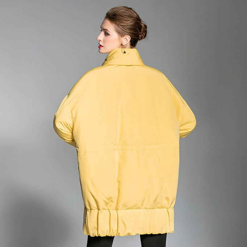 La Femelle Coréenne Écharpe Veste Casual De B002 Mode 2018 Femmes Taille Blanc D'hiver Manteau jaune Noir Canard Plus Porter Épais Lâche Duvet Neige Oversize xqRw54tY