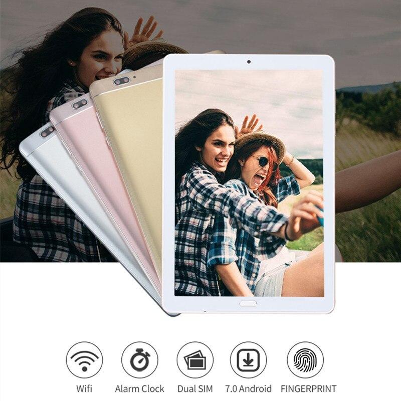 Reconocimiento de la huella digital de 10,2 pulgadas tableta 4G LTE Octa Core 4 GB + 64 GB Android 7,0 Tablet PC 1920*1280 Wifi GPS tabletas 10 10,1