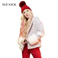 Эльф SACK зима p Женский Искусственный vigoreux лоскутное твид ткань с капюшоном шерстяная верхняя одежда женский