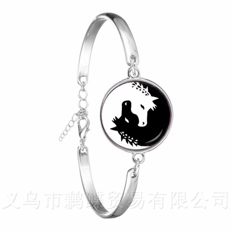 Two Horses Yin Yang Glass Dome Bracelet Symbol Jewelry Natural Rustic Classic Style Symbolizing Harmony Bring Good Luck Jewelry