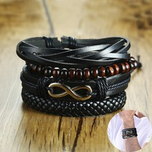 Mens Layering and Stacking Leather Bracelets Multilayer Bangle Wood Bead Brackelts Adjustable Men Jewelry Accessories 4PCS/SET