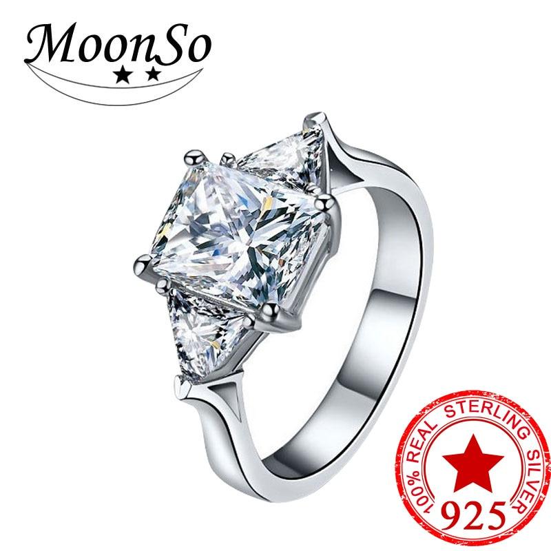 01bc5c9f8fa1 Moonso 925 anillos de plata esterlina dos regalos dos colores para las  mujeres de boda joyería de compromiso aneis de diamante R1951S