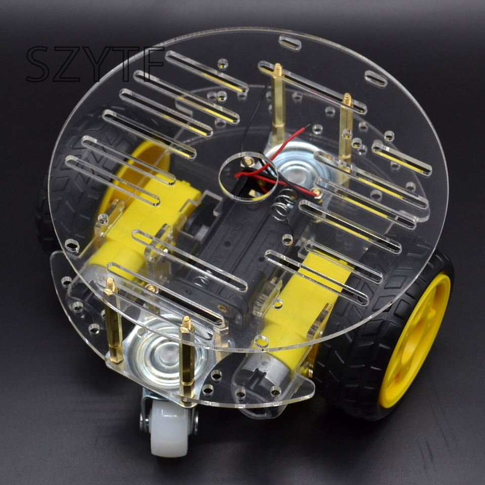 1Set 2WD Mini Round Double-Deck Smart Robot Car Chassis DIY Kit Tracing Strong Magnetic Motor Car Rt-4