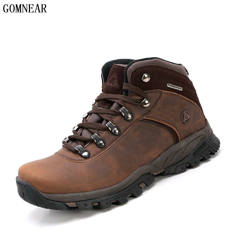 GOMNEAR New Arrival Men's Waterproof Hiking Shoes Antiskid Hunting Comfortable Trend Sneakers For Male Mountain Climbing Shoes
