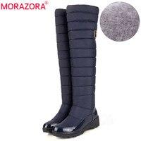פלטפורמת אופנה הגעה לניו רוסיה לשמור על מגפי שלג חמים MORAZORA פרווה על מגפי הברך מגפי חורף חמים לנשים נעלי
