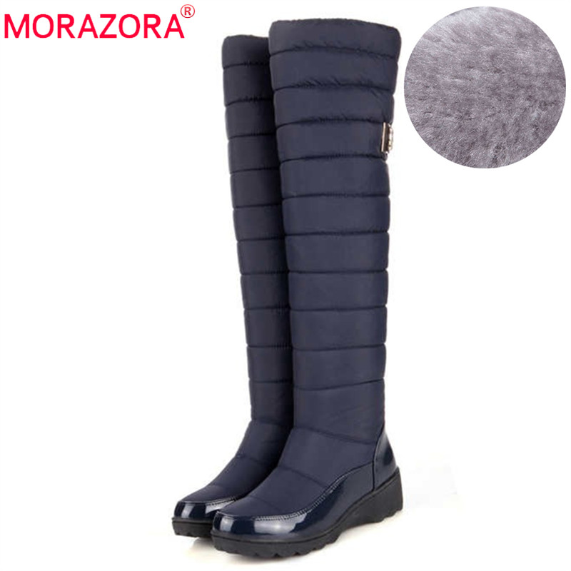 MORAZORA New arrival Russia keep warm snow boots fashion platform fur over the knee boots warm winter boots for women shoes fashion keep warm winter women boots snow boots 2017 buckle cotton boots women boots shoes