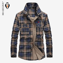Men Plaid Cotton Casual Shirt Military Long Sleeve Brand Business Dress Shirt High Quality Spring Famous Loose 4XL