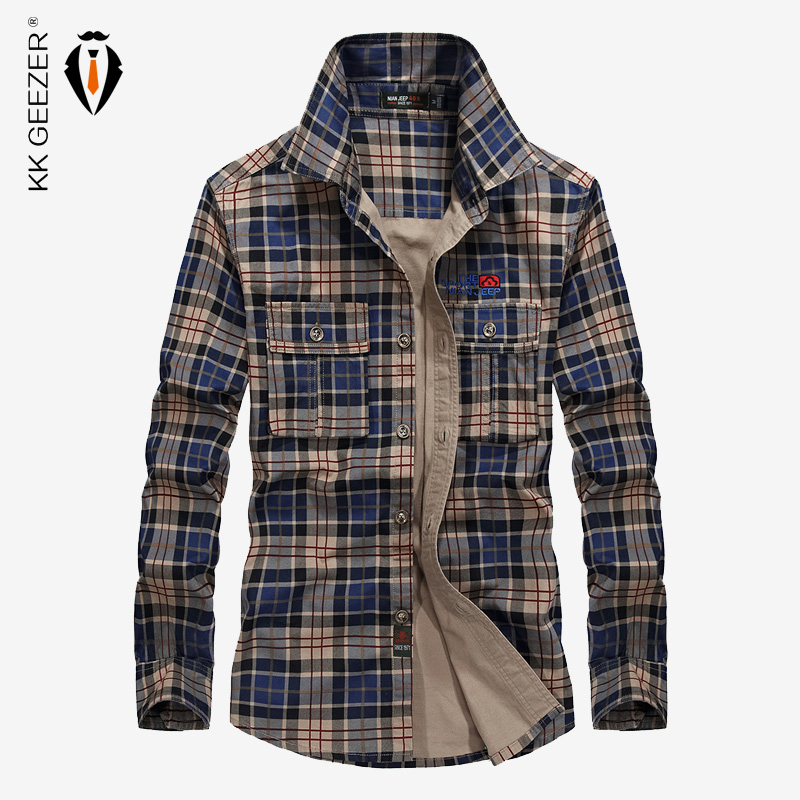 Men Plaid Cotton Casual Shirt Military Long Sleeve Brand Business Party Dress Shirt High Quality Spring Famous Loose 4XL