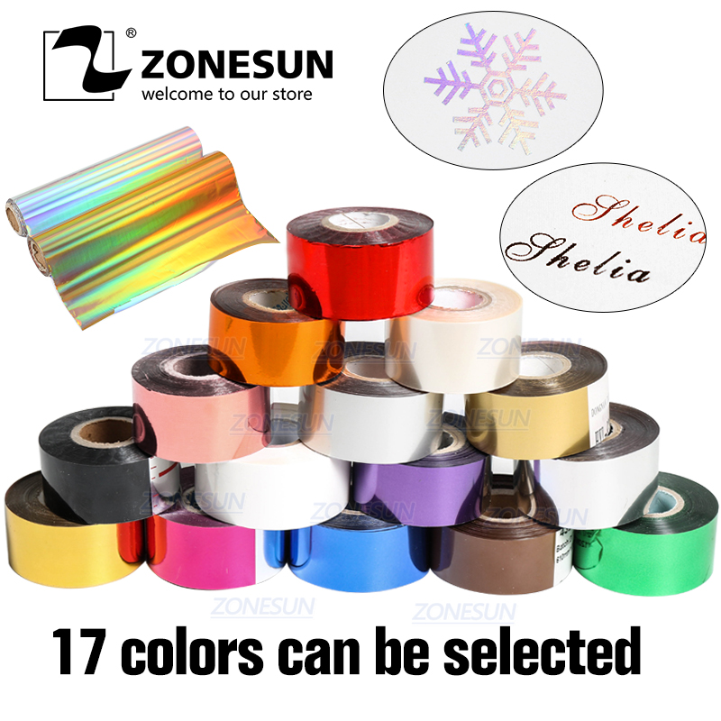 ZONESUN Free Shipping Hot Stamping Foil 3cm Hot Stamp Ribbon Date Coding Foil Paper Hot Embossing Foil Paper Make Colorful LogoZONESUN Free Shipping Hot Stamping Foil 3cm Hot Stamp Ribbon Date Coding Foil Paper Hot Embossing Foil Paper Make Colorful Logo