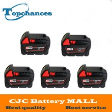 5PCS High quality 18V 4 0Li Ion 4000mAh Replacement Power Tool Battery for Milwaukee M18 XC