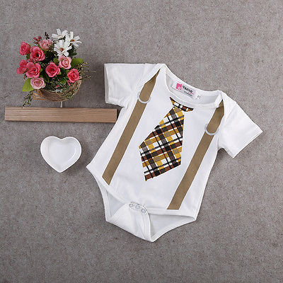 7f1ad737d5b2 Newborn Baby Boy Clothes Plaid Tan Tie and Suspenders Romper Outfits ...