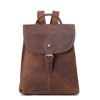 Mini Backpack Men Genuine Leather Business Bag for Teenager Women Bagpack Crazy Horse Back Pack Female School Bag Large Mochilas