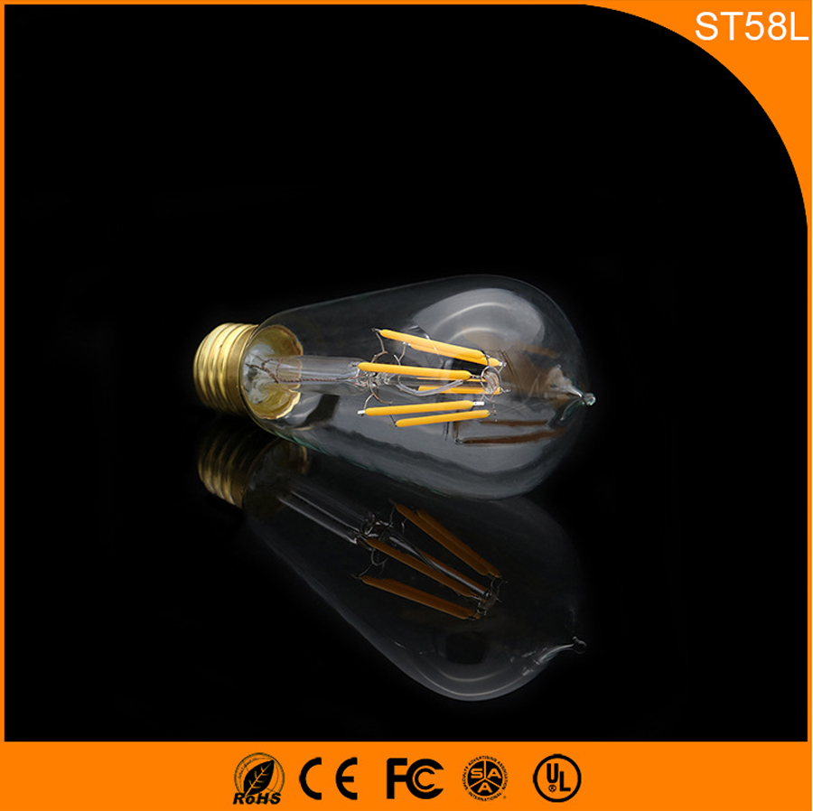 50PCS Retro Vintage Edison E27 B22 LED Bulb ,ST58L 6W Led Filament Glass Light Lamp, Warm White Energy Saving Lamps Light AC220V 5pcs e27 led bulb 2w 4w 6w vintage cold white warm white edison lamp g45 led filament decorative bulb ac 220v 240v