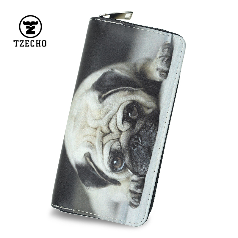 TZECHO Zipper Around Wallets for Women Long Credit Card Holder Ladies Clutch Purse with Phone PU Prints 3D Animal Dog Female Bag
