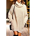 Women pullover poncho long sweaters fashion turn down callar sweater long sleeve loose beige sweater winter keep warm knitting