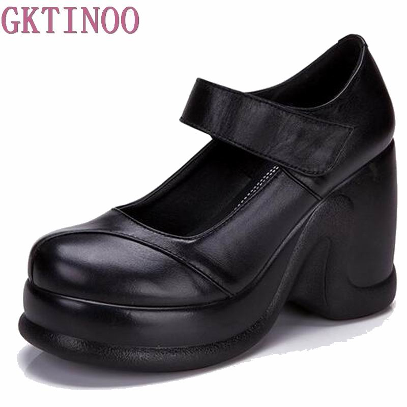 New Spring Autumn Shoes Woman 100% Genuine Leather Women Pumps Lady Leather Round Toe Platform Shoe Hook & Loop Design T1182 women shoes spring autumn 100