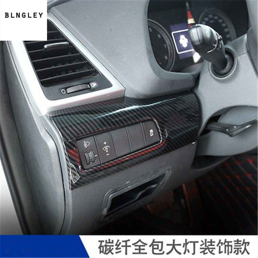 Free shipping 1pc stainless steel carbon fiber grain Headlight adjustment switch decoration cover for <font><b>2018</b></font> <font><b>hyundai</b></font> <font><b>Tucson</b></font> image