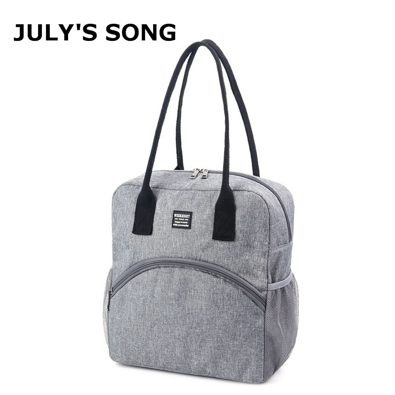 JULY'S SONG Large Capacity Lunch Bag Cation Portable Picnic Carry Thermal Food Lunch Box Cooler Bag Thicken Waterproof Lunch Bag