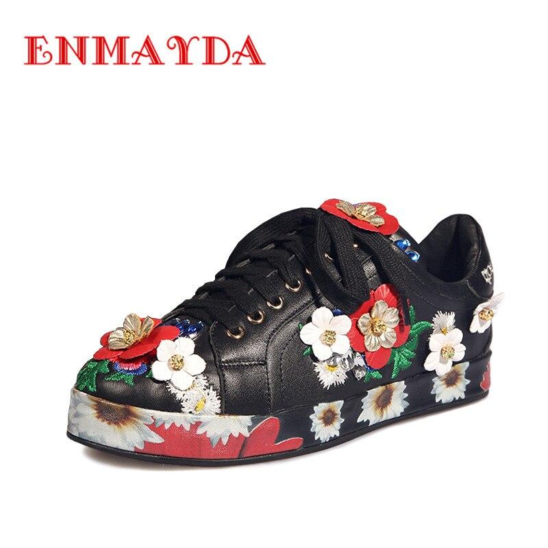 ФОТО ENMAYDA Genuine Leather Flat Platform Women Leisure Shoes Lace-Up Round Toe Flower Sweet Black White Spring/Autumn Women Flats