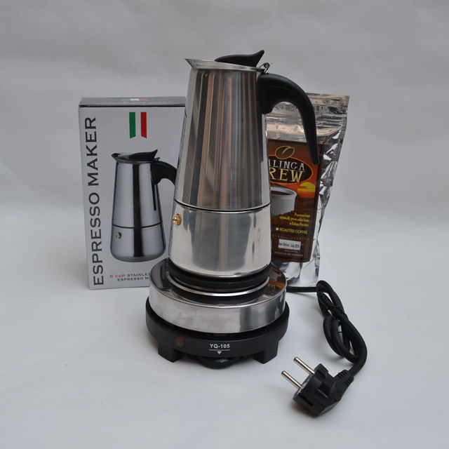 6 Cups300ML Espresso Machine American Trickling Electric Moka Coffee Maker Pot Furnace Kit Parts Free