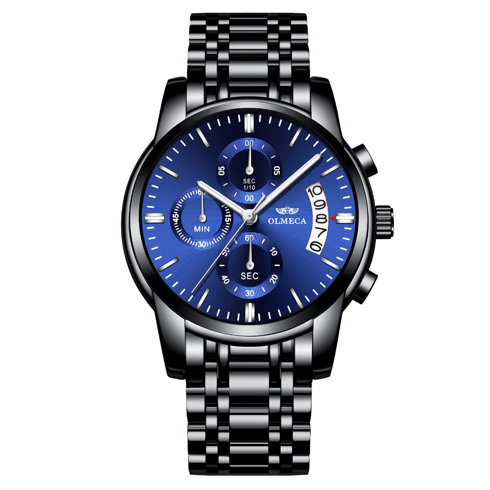 Men Watches OLMECA Brand Watch Military Relogio Masculino Chronograph Wrist Watch Female Clock Black Stainless Steel Blue DialMen Watches OLMECA Brand Watch Military Relogio Masculino Chronograph Wrist Watch Female Clock Black Stainless Steel Blue Dial
