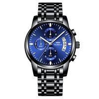Men Watches OLMECA Brand Watch Military Relogio Masculino Chronograph Wrist Watch Female Clock Black Stainless Steel Blue Dial