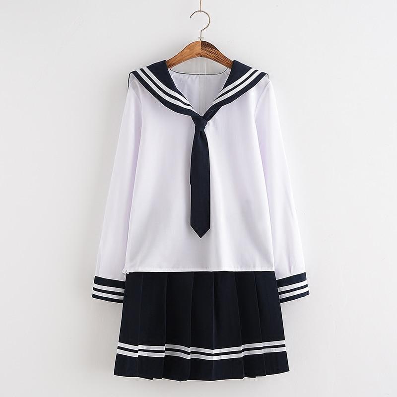 HOT Autumn Spring School Girl Clothes Navy Sailor Suits Japanese Anime Cosplay School Uniforms Top+Skirt+Tie girl