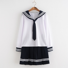 HOT Autumn Spring School Girl Clothes Navy Sailor Suits Japanese Anime Cosplay School Uniforms Top+Skirt+Tie