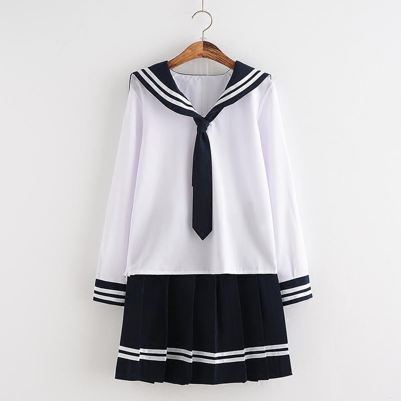 White Three Lines Women School Uniform Spring Summer School Girl Cosplay Sailor Suit Chorus Performance Student Clothing