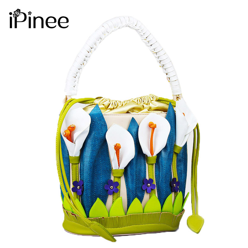 iPinee Women Bags Personality Design Leather Bucket Bag Handbags Fashion Retro Women Shoulder Bag Free Shipping crocodile retro women bag luxury women design fashion retro leather tote handbag solid bucket bag design fashion bags