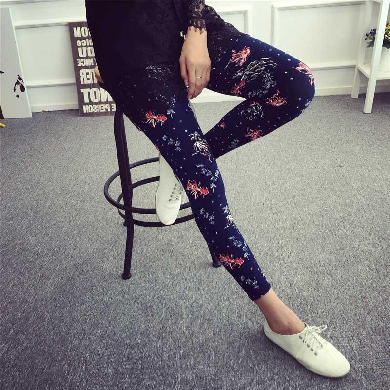 BIVIGAOS Spring Summer Womens Fashion Black Milk Thin Stretch leggings Colored Stars Graffiti Slim Skinny Leggings Pants Female 79