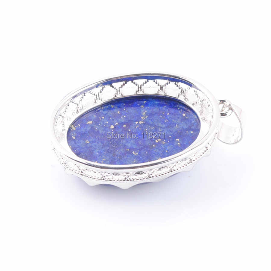WOJIAER 2019 รักรูปร่างไข่ตกแต่ง Lapis Lazuli หิน Statement Suspension Charms จี้ของขวัญหญิง PN3334
