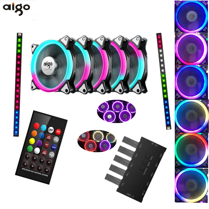 Aigo C5 RGB Adjust LED 120mm Quiet+IR Remote New computer Cooler Cooling RGB Case Fan For CPU 5pcs Computer Case PC Cooling Fan