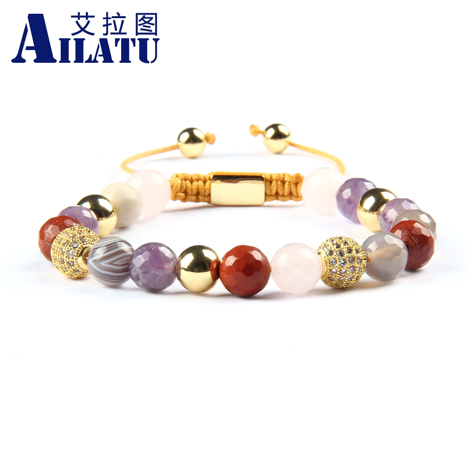 Ailatu Micro Pave Clear Cz Ball Macrame Bracelet for Nice Gift with 8mm Natural Mix Stone