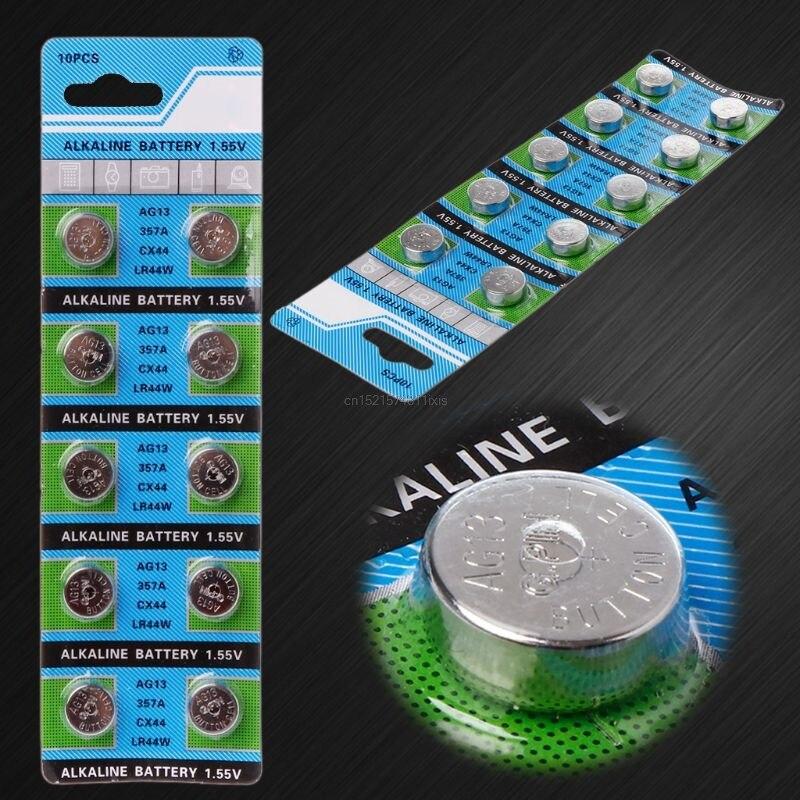 10 pces ag13 a76 lr44 357a s76e g13 botão em forma de moeda pilha bateria 1.55v alcalina botão baterias
