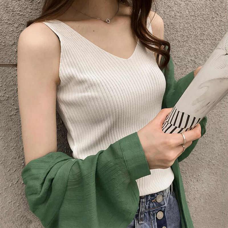 Verano Mujer nuevo estilo Streetwear hielo seda chaleco sin mangas Sexy Top estilo coreano adelgazante Delgado mujeres camisetas