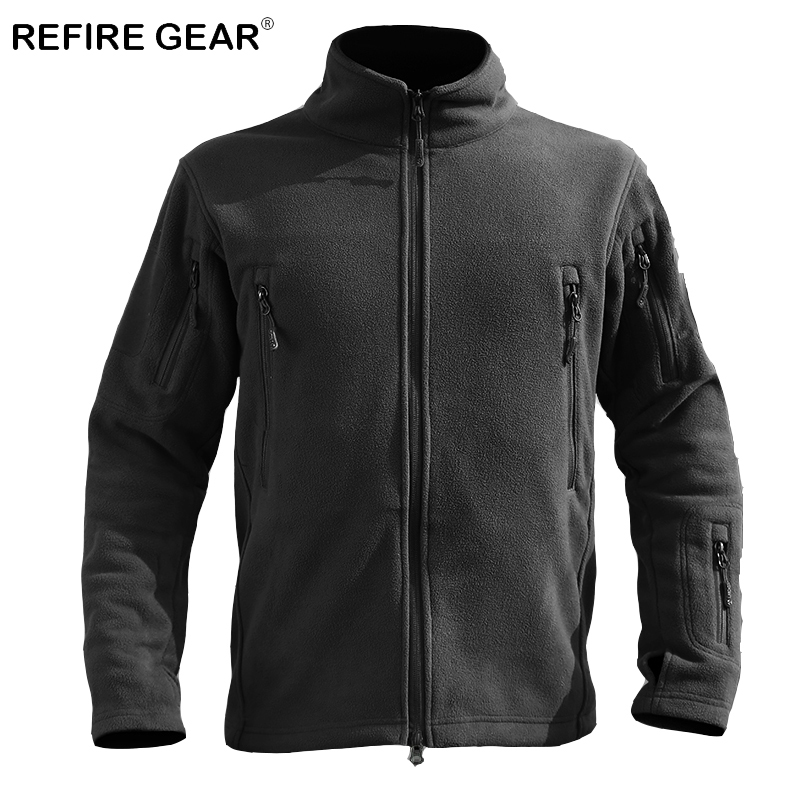 ReFire Gear Autumn Lightweight Outdoor Fleece Tactical Jacket Men Thermal Windproof Hiking Military Jackets Winter Army Clothing
