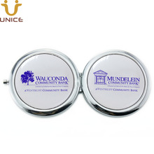 100pcs/lot Your Logo Customized Double Sides Compact Mirror Two Faces Epoxy Domes Printing Pocket Cosmetic Silver Handbag
