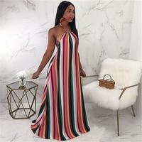 Boho Summer Dress CHEAPEST Runway 2018 Maxi Long Dress Boho Maxi Dress F0069 Strip Print Halter Backless