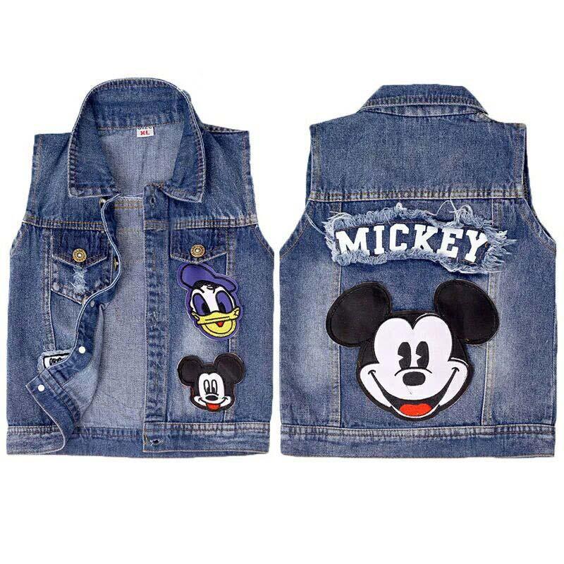2019 Baby Mickey Vests Boys Girls Jeans Denim Waistcoats Outerwear Children Cartoon Minnie Spring Summer Clothes Kids Jackets