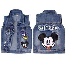 2020 Baby Mickey Vests Boys Girls Jeans Denim Waistcoats Outerwear Children Cartoon Minnie Spring Summer Clothes Kids Jackets(China)