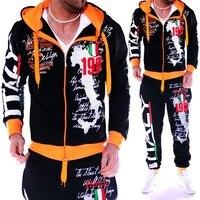 2019 New Men Sport Suit Mens Track Suit Casual 2 Piece Set Fashion Color Block Hooded Sportswear Sweatsuit For Male Survetement